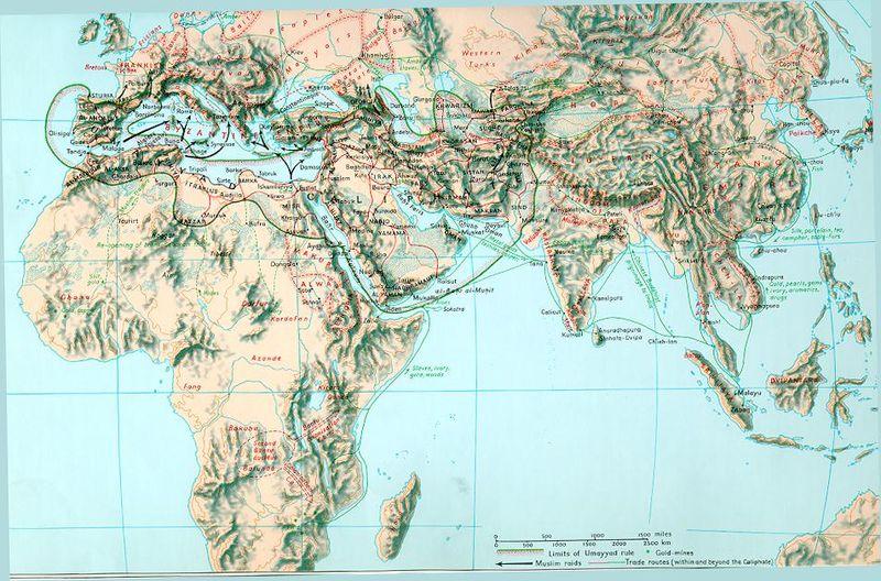 Map Ummayyad Caliphate 750 AD