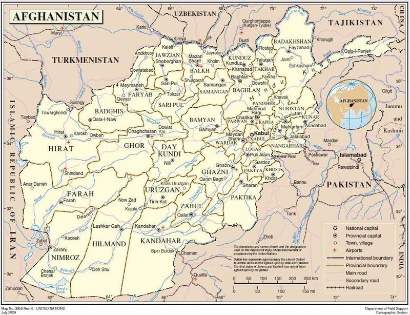 Afghanistan Map UN July 2009