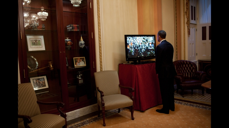 Obama gets the news