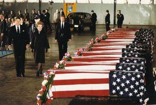 Reagan Respects Beirut Fallen