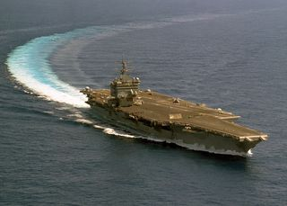 USS Enterprise takes hard left